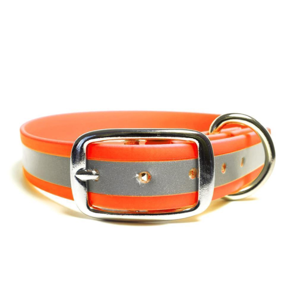 Mystique® Biothane Halsband Deluxe 25mm beta reflex 35-43cm reflex neon orange