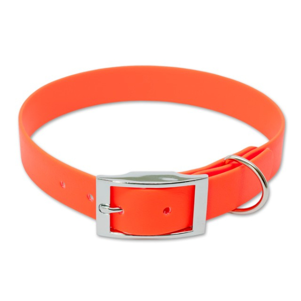 Mystique® Biothane Halsband deluxe 25mm neon orange 40-48cm
