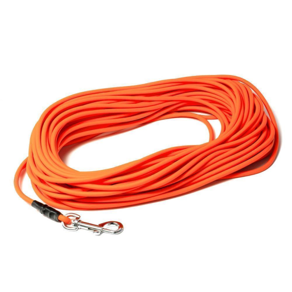 Mystique® Biothane Schleppleine rund 8mm neon orange 15m